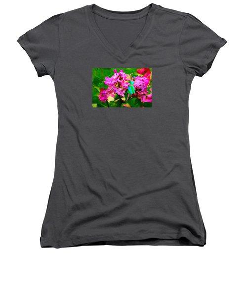 Flower Fairy  Women's V-Neck T-Shirt (Junior Cut) by Andre Faubert