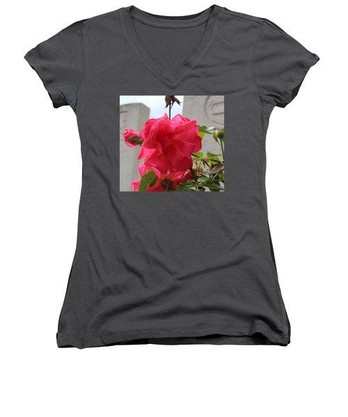 Flower Women's V-Neck (Athletic Fit)