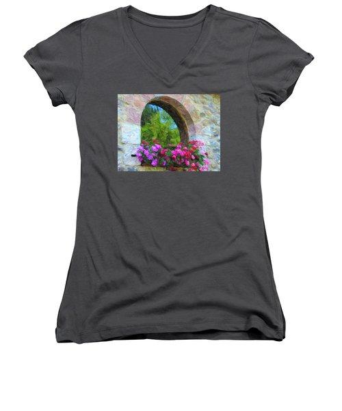 Flowers Women's V-Neck