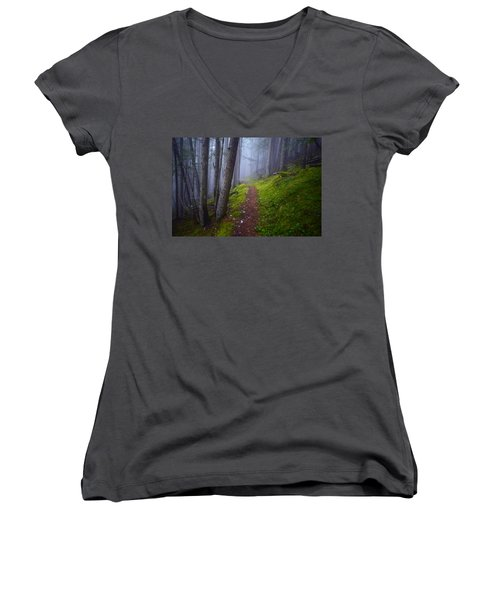 Women's V-Neck T-Shirt (Junior Cut) featuring the photograph Forest Mysteries by Tara Turner