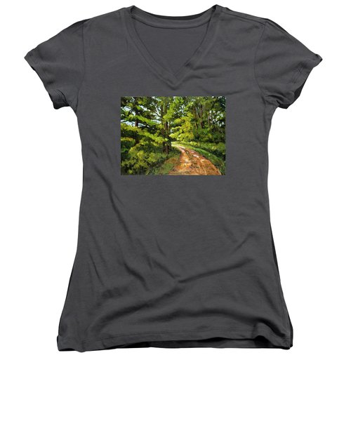 Forest Pathway Women's V-Neck T-Shirt (Junior Cut) by Alexandra Maria Ethlyn Cheshire