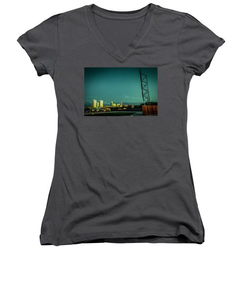 Fortworth Texas Cityscape Women's V-Neck (Athletic Fit)