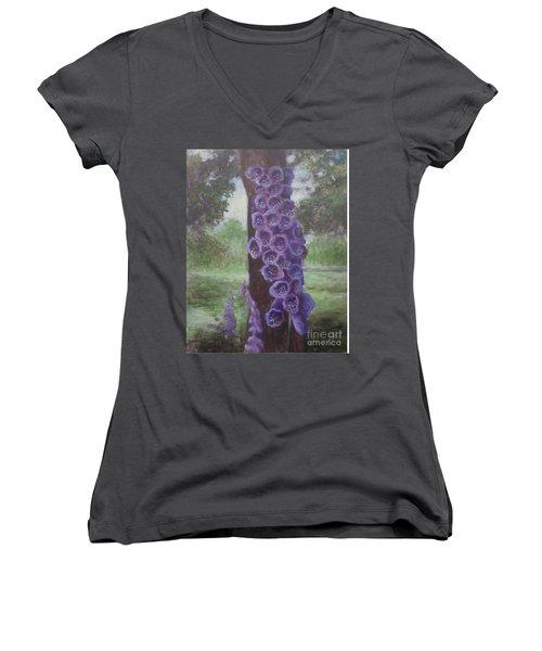 Foxglove Women's V-Neck T-Shirt (Junior Cut) by Randy Burns