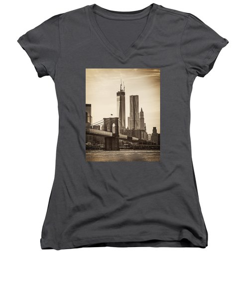 Freedom Tower Rising Women's V-Neck (Athletic Fit)