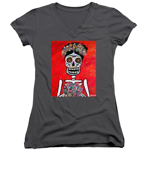 Women's V-Neck T-Shirt (Junior Cut) featuring the painting Frida Dia De Los Muertos by Pristine Cartera Turkus