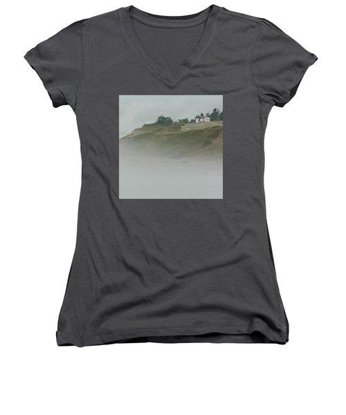 Ft. Casey Lighthouse Women's V-Neck T-Shirt (Junior Cut) by Tony Locke