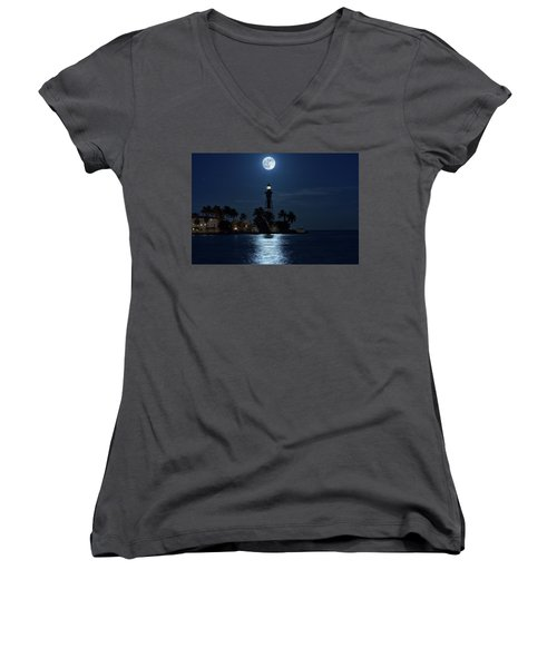 Full Moon Over Hillsboro Lighthouse In Pompano Beach Florida Women's V-Neck