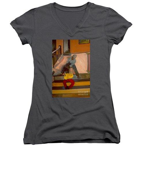Gettin Braids Women's V-Neck T-Shirt (Junior Cut) by Daun Soden-Greene