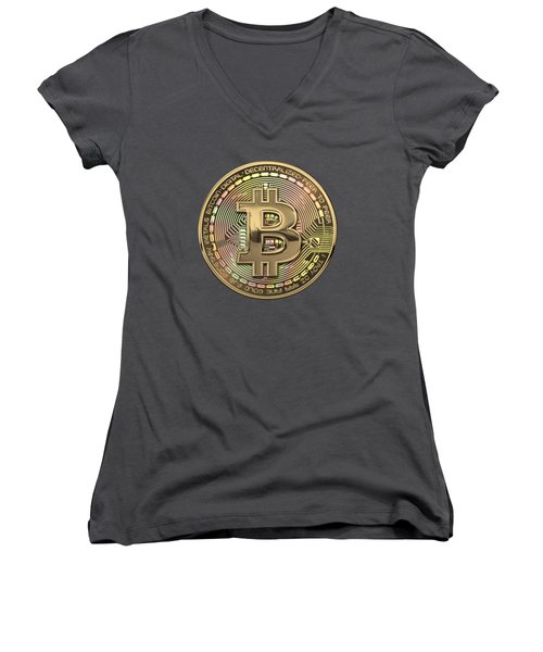 Gold Bitcoin Effigy Over Red Canvas Women's V-Neck (Athletic Fit)
