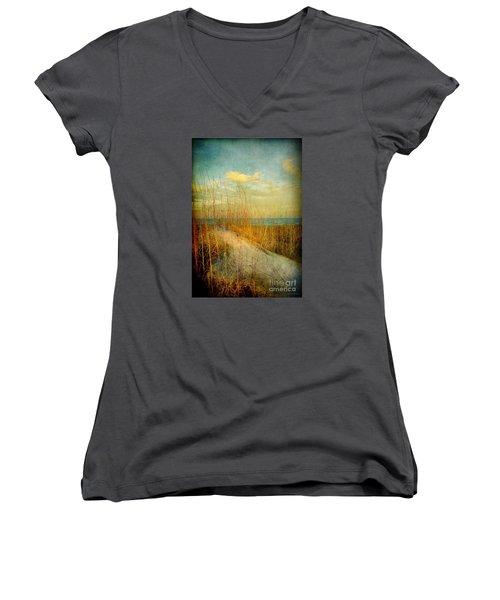 Women's V-Neck T-Shirt (Junior Cut) featuring the photograph Golden Dune by Linda Olsen