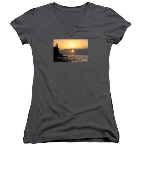 Women's V-Neck T-Shirt (Junior Cut) featuring the photograph Golden Glow by Sandra Updyke