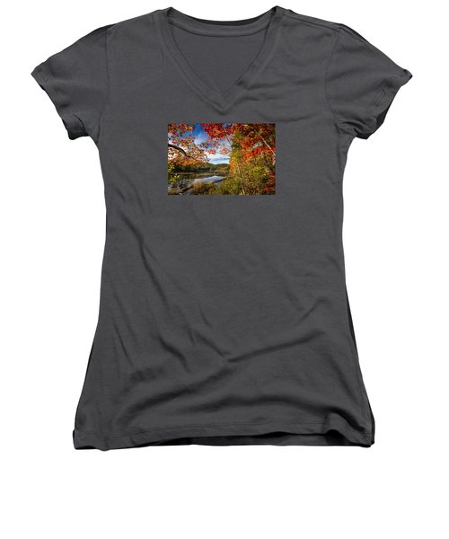 Women's V-Neck T-Shirt (Junior Cut) featuring the photograph Grafton, New Hampshire by Robert Clifford
