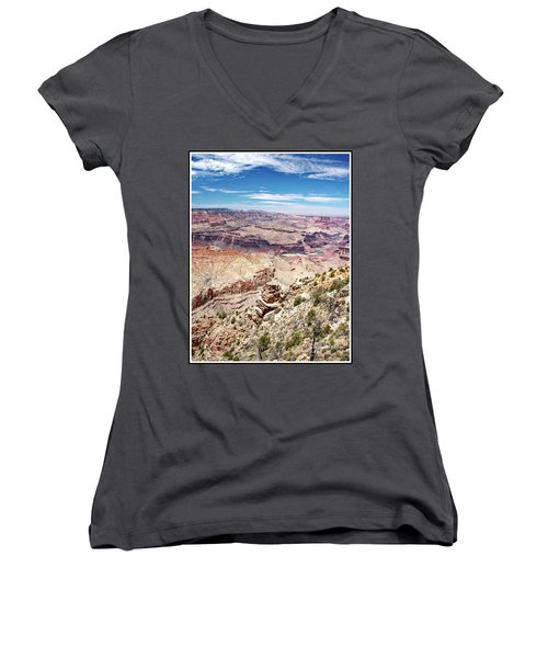 Grand Canyon View From The South Rim, Arizona Women's V-Neck T-Shirt (Junior Cut) by A Gurmankin