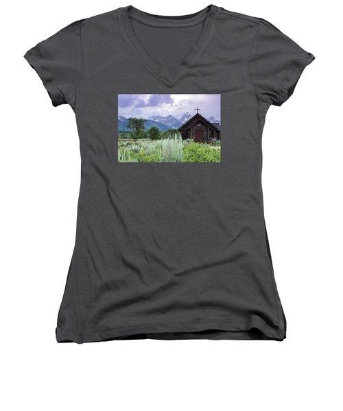 Grand Teton Church Women's V-Neck T-Shirt (Junior Cut) by Dawn Romine