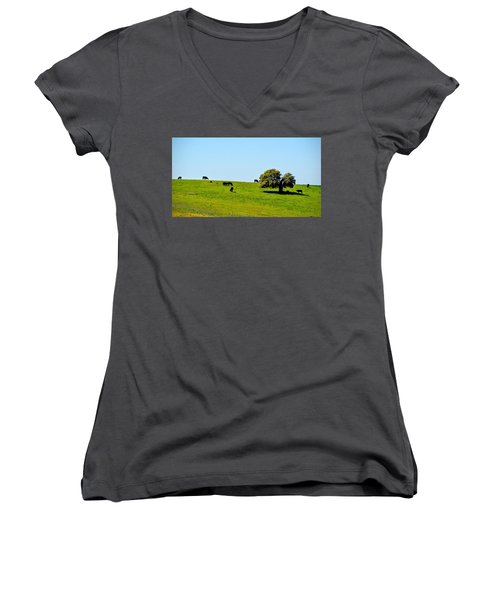 Women's V-Neck T-Shirt (Junior Cut) featuring the photograph Grazing In The Grass by AJ Schibig