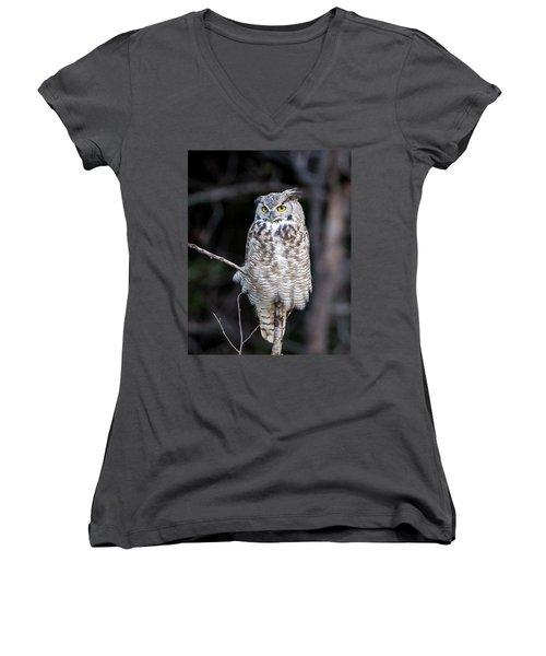 Great Horned Owl  Women's V-Neck (Athletic Fit)