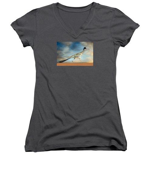 Greater Roadrunner Women's V-Neck T-Shirt (Junior Cut) by Barbara Manis