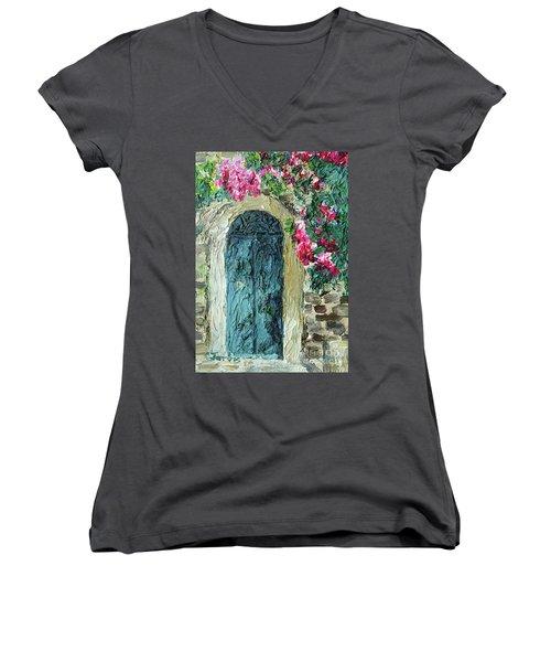 Green Italian Door With Flowers Women's V-Neck