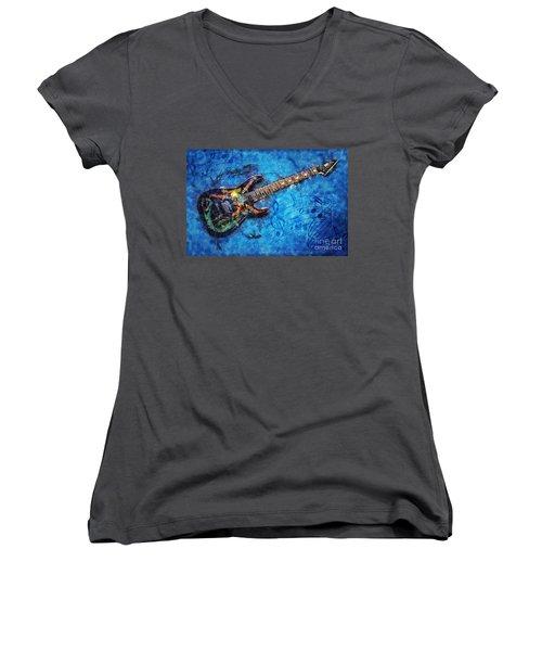 Guitar Love Women's V-Neck T-Shirt (Junior Cut) by Ian Mitchell