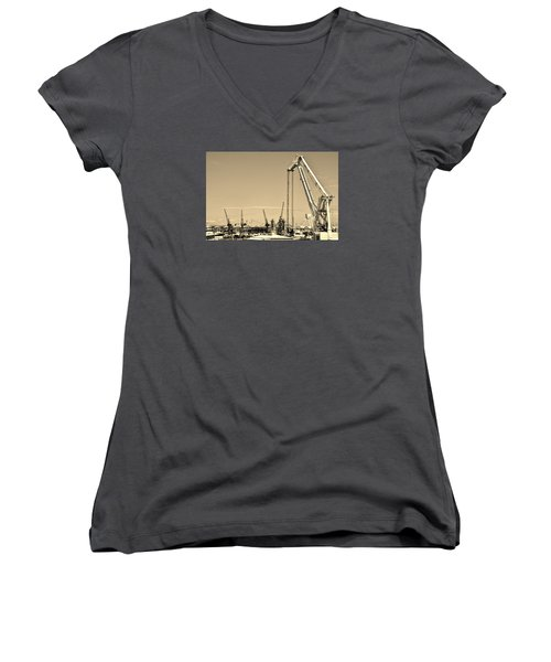 Women's V-Neck T-Shirt (Junior Cut) featuring the photograph Harbor Impression by Werner Lehmann