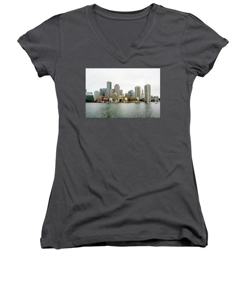 Women's V-Neck T-Shirt (Junior Cut) featuring the photograph Harbor View by Greg Fortier