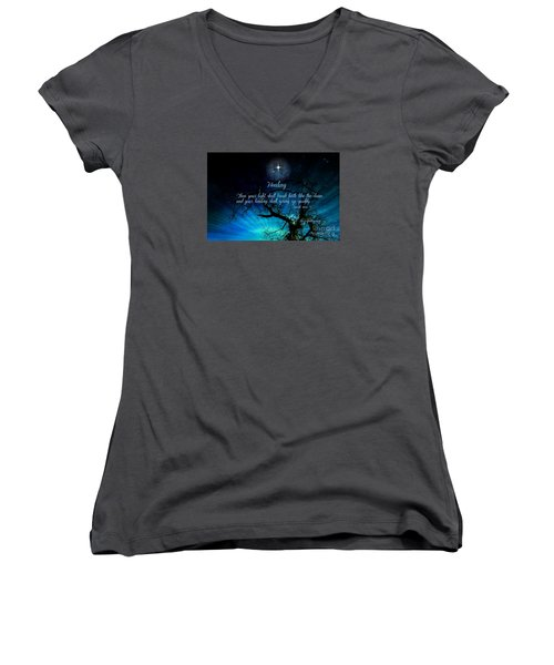 Women's V-Neck T-Shirt (Junior Cut) featuring the digital art Healing Art By Sherri Of Palm Springs by Sherri  Of Palm Springs