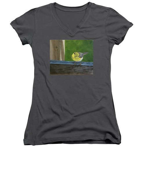 Women's V-Neck T-Shirt (Junior Cut) featuring the painting Hello by Wendy Shoults