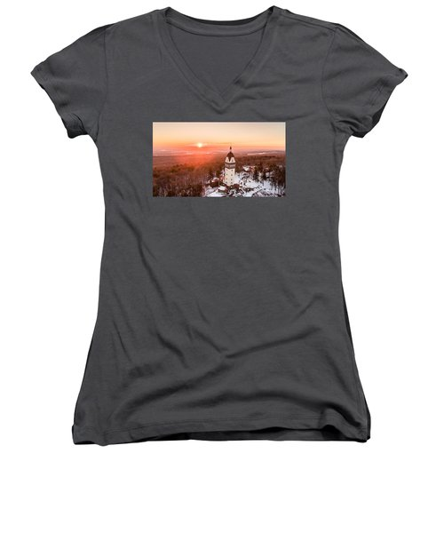 Women's V-Neck T-Shirt (Junior Cut) featuring the photograph Heublein Tower In Simsbury, Connecticut by Petr Hejl