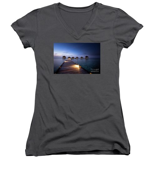 Women's V-Neck T-Shirt (Junior Cut) featuring the photograph Honeymooners Paradise by Hannes Cmarits