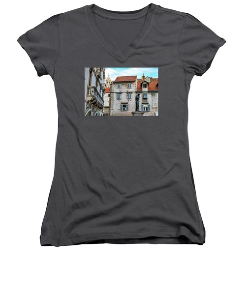 Houses And Cathedral Of Saint Domnius, Dujam, Duje, Bell Tower Old Town, Split, Croatia Women's V-Neck T-Shirt (Junior Cut) by Elenarts - Elena Duvernay photo