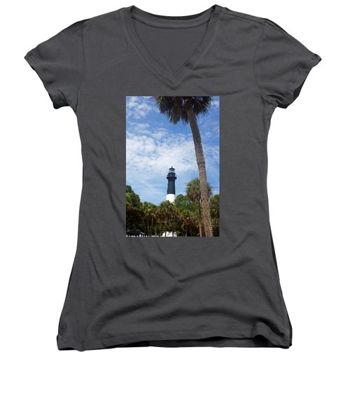 Hunting Island Lighthouse Women's V-Neck T-Shirt (Junior Cut) by Ellen Tully