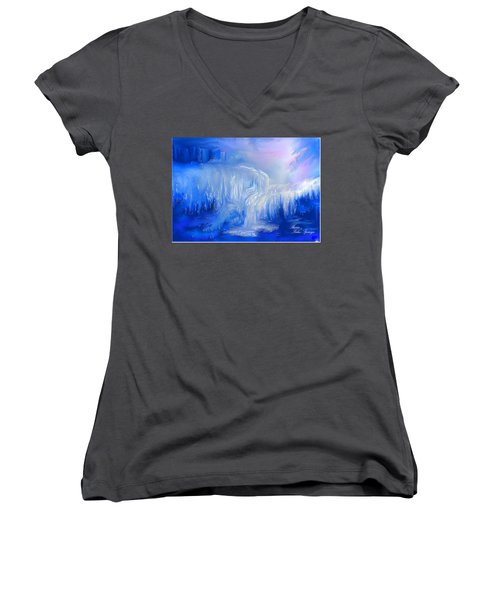 Women's V-Neck T-Shirt (Junior Cut) featuring the painting Ice Falls by Sherri  Of Palm Springs