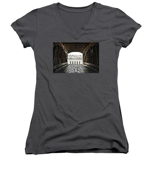 Inside The Covered Bridge Women's V-Neck T-Shirt (Junior Cut) by Joanne Coyle