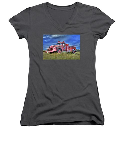 International Fire Truck 2 Women's V-Neck
