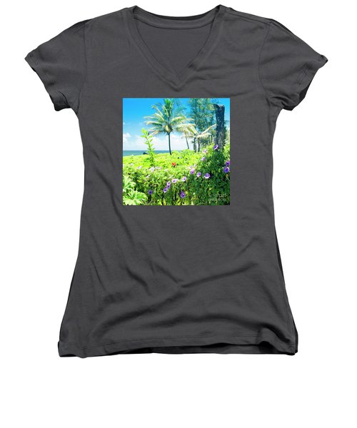 Women's V-Neck T-Shirt (Junior Cut) featuring the photograph Ipomoea Keanae Morning Glory Maui Hawaii by Sharon Mau