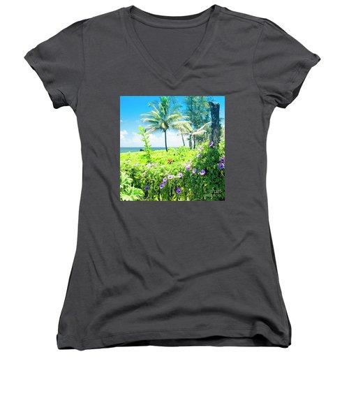 Ipomoea Keanae Morning Glory Maui Hawaii Women's V-Neck T-Shirt (Junior Cut) by Sharon Mau