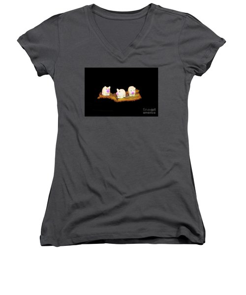 Ironic Pigs Women's V-Neck (Athletic Fit)