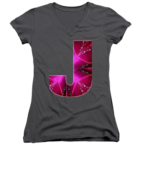 J Jj Jjj  Alpha Art On Shirts Alphabets Initials   Shirts Jersey T-shirts V-neck Sports Tank Tops  B Women's V-Neck T-Shirt (Junior Cut) by Navin Joshi