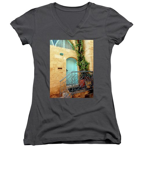 Jaffa-israel Women's V-Neck T-Shirt (Junior Cut) by Denise Moore
