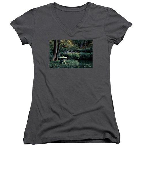 Women's V-Neck T-Shirt (Junior Cut) featuring the photograph Japanese Garden In Summer by Iris Greenwell