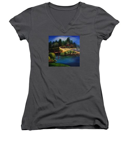 Japanese Gardens - Original Sold Women's V-Neck T-Shirt (Junior Cut) by Therese Alcorn