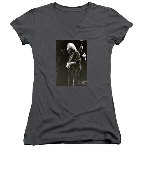 Grateful Dead - Jerry Garcia - Celebrities Women's V-Neck T-Shirt (Junior Cut) by Susan Carella