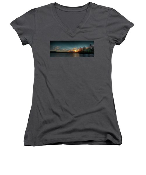 June Sunset On Nicks Lake Women's V-Neck T-Shirt (Junior Cut) by David Patterson