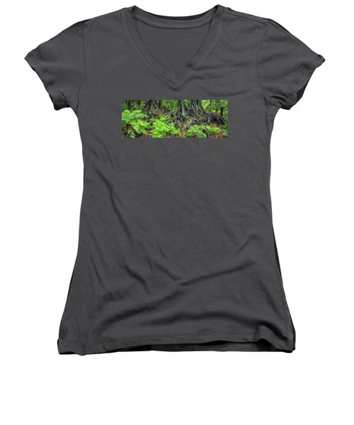 Women's V-Neck T-Shirt (Junior Cut) featuring the photograph Jungle Roots by Les Cunliffe