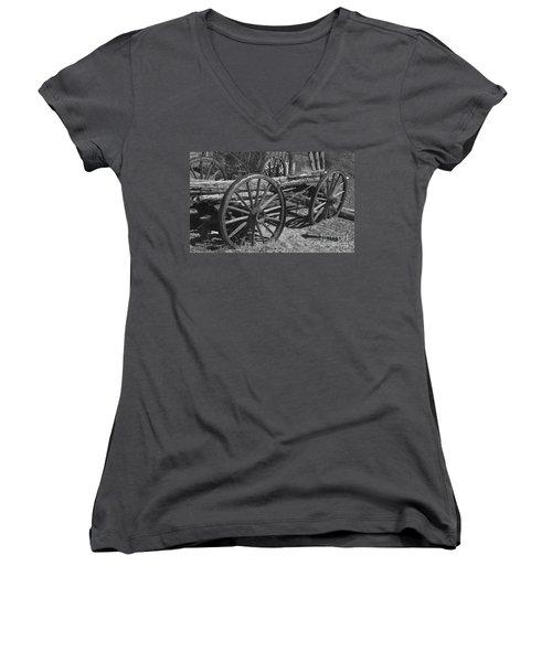 Women's V-Neck T-Shirt (Junior Cut) featuring the photograph  Junk Pile by Debby Pueschel
