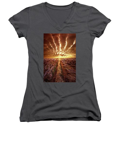 Women's V-Neck T-Shirt (Junior Cut) featuring the photograph Just Over The Horizon by Phil Koch
