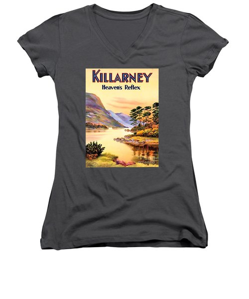 Women's V-Neck T-Shirt (Junior Cut) featuring the painting Killarney by Pg Reproductions