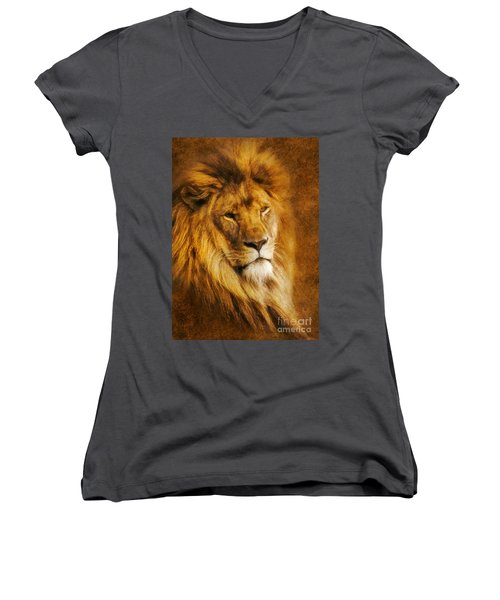 Women's V-Neck T-Shirt (Junior Cut) featuring the digital art King Of The Beasts by Ian Mitchell