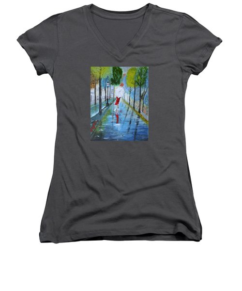Lady In Red Original Version Women's V-Neck T-Shirt (Junior Cut) by Dick Bourgault