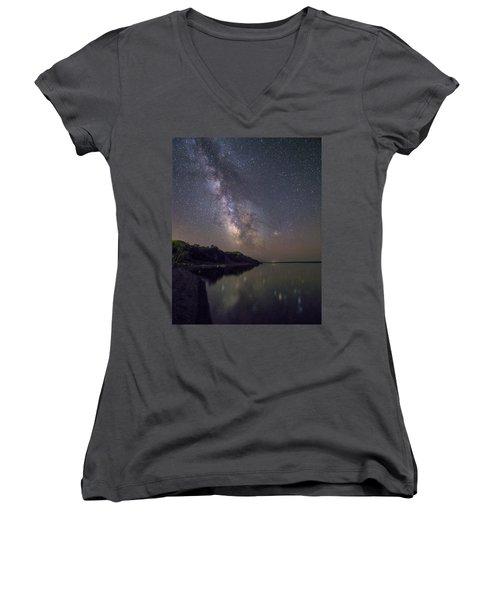 Women's V-Neck T-Shirt (Junior Cut) featuring the photograph Lake Oahe  by Aaron J Groen